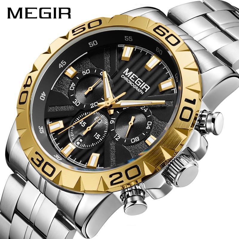 fc5172704b7d Compre 2019 Nuevo Reloj MEGIR Hombres Cronógrafo De Cuarzo Para Hombre De  Negocios Relojes De Primeras Marcas De Lujo Reloj De Pulsera A Prueba De  Agua ...