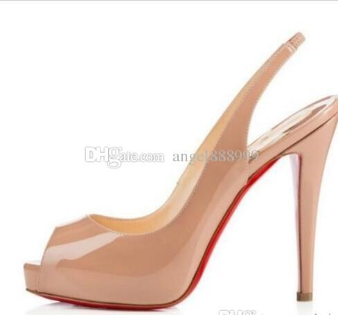 f03ba8487b82 Top Quality Big Size 34 44 Platform Women Red Bottom High Heels Peep Toe Women  Shoes Black Patent Leather Extremely High Heel With Box Italian Shoes  Summer ...