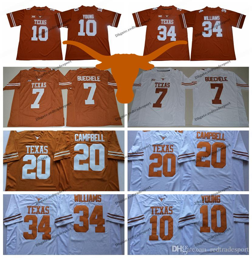 2019 Texas Longhorns 10 Vince Young 34 Ricky Williams 20 Earl Campbell  College Football Jerseys 7 Shane Buechele New Orange Stitched Shirts