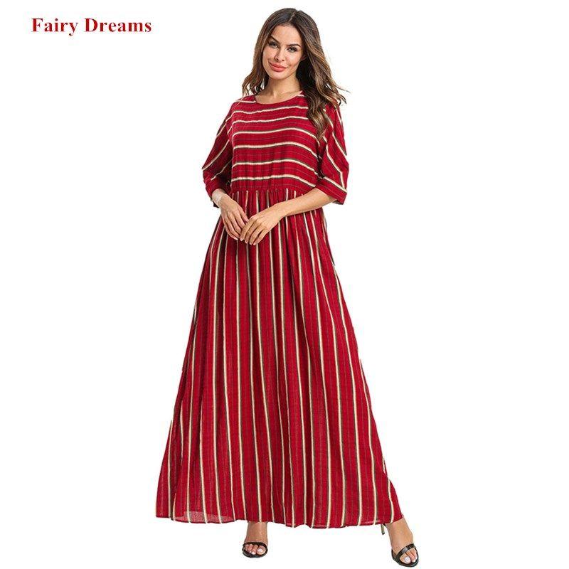 Acquista Abaya Le Donne Abbigliamento Islamico Bangladesh Plus Size 4XL  Kaftan Dubai Abaya Marocain A Righe Manica Lunga Rossa Maxi Abito Arabo A   64.13 Dal ... 5116ed5a527