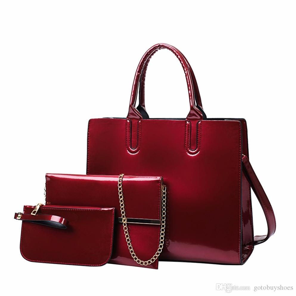 ada5a3a6571c4 Großhandel 3 Teile   Satz Lackleder Frauen Handtasche Luxus Schulter  Abendtaschen Ladiea Crossbody Umhängetasche Mode Weibliche Clutch Tote    88998 Von ...