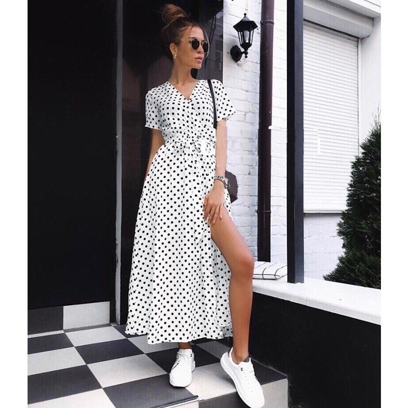Donne Boho Polka Dot Summer Beach Abito lungo Evening Party con scollo a V Vita alta Split A Line Maxi Dress Vintage Chic Femme Vestido