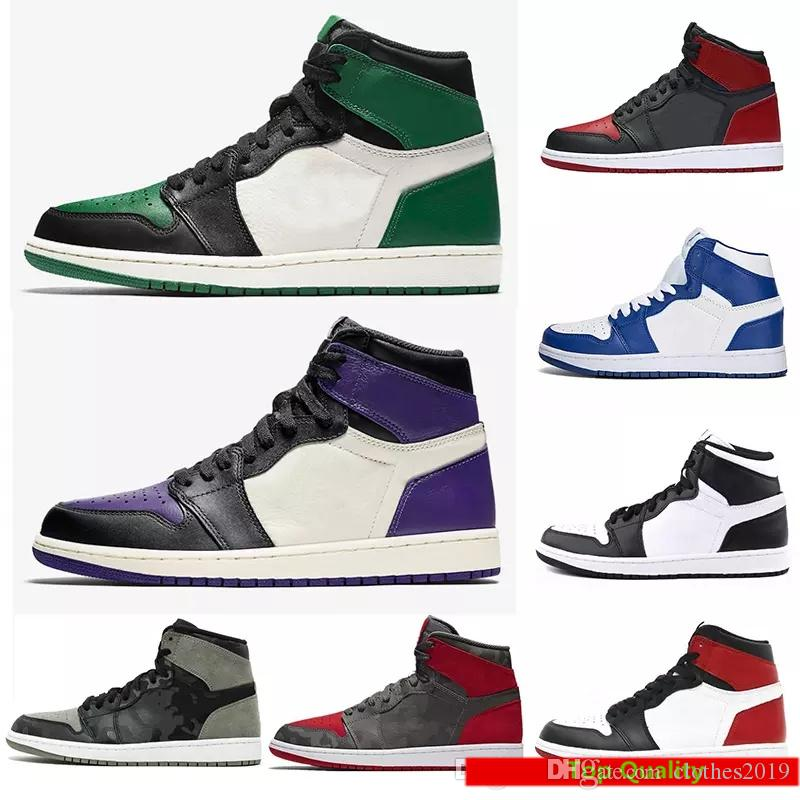 a18ba050441b 2018 Court Purple Pine Green Mid OG 1 Top 3 Men Basketball Shoes 1s ...