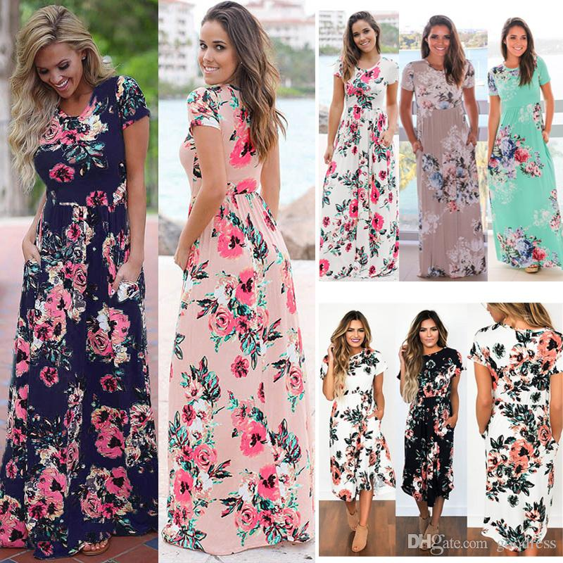 cea03817ab Women Summer Maxi Dresses flower Floral Printed Boho Beach party Short  Sleeve Long Dress Lady Casual elastic waist loose Sundress plus size