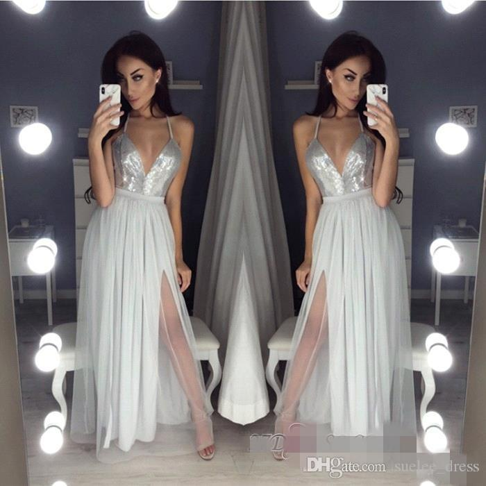 23f39aac Sexy Silver Sequins A Line Prom Dresses Spaghetti Straps Chiffon Side Slit  Backless Formal Occasion Wear Long Evening Party Gowns Tight Prom Dresses  Vintage ...