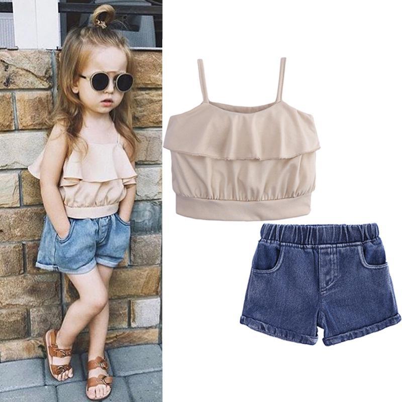 Acquista Abbigliamento Bambini 2019 Vestiti Ragazze Di Estate 2 Pezzi Abiti  Bambini Vestiti Ragazze Abbigliamento Sportivo Set Di Abbigliamento 2 3 4 5  6 7 ... 87bd73f07462