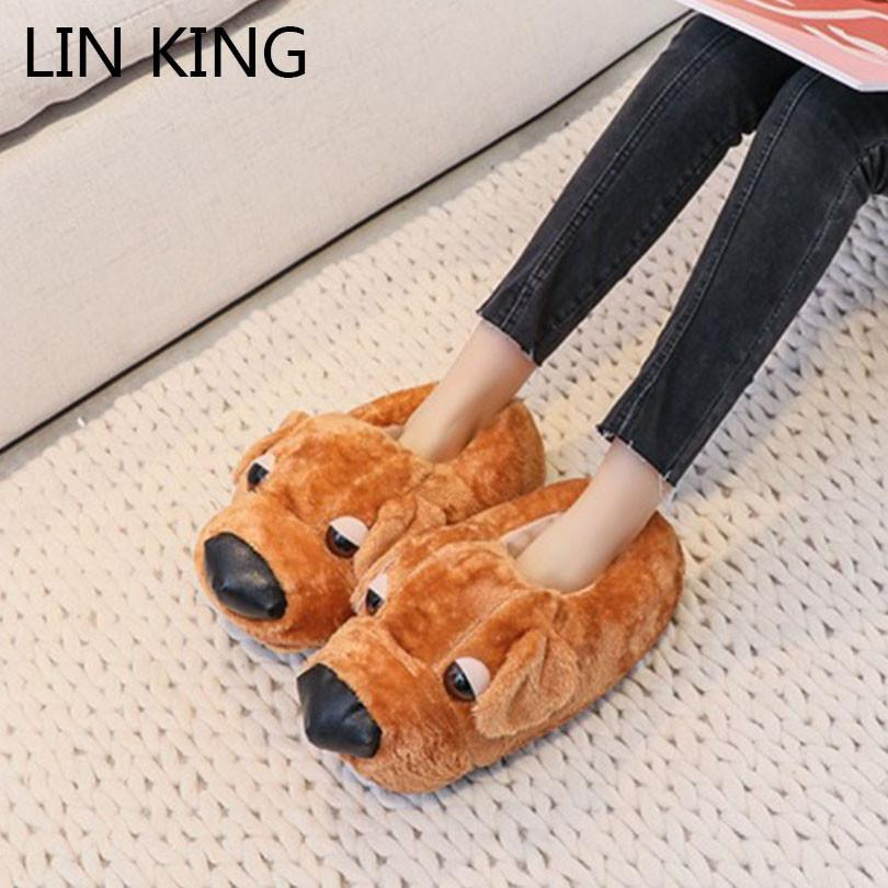 d3706e3a3a01 LIN KING Big Size Cartoon Animal Dog Home Slippers Unisex Women Men Winter  Indoor Slippers Warm Plush House Flats Cotton Shoes Boots Shoes Green Shoes  From ...