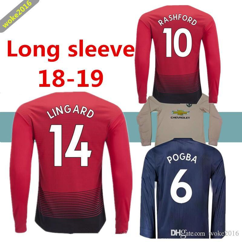 0bc56d591 2019 Pink Manchester United Long Sleeve Football Jersey Pogba Alexis