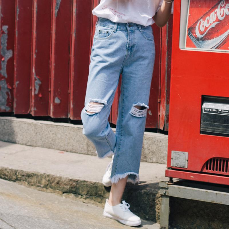 46b0378f23b 2019 2019 New Women S Ripped Jeans Korean Fashion Casual Loose Wide Leg  Pants High Waisted Ankle Length Distressed Jeans From Armhole