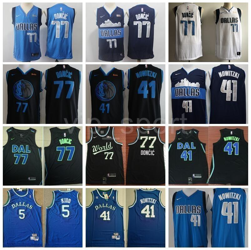 buy online 5e0a1 32eb5 2019 All 77 Star Luka Doncic Jersey Dallas Basketball Mavericks Dirk 41  Nowitzki Jason Kidd Edition City Navy Blue White Black Team World