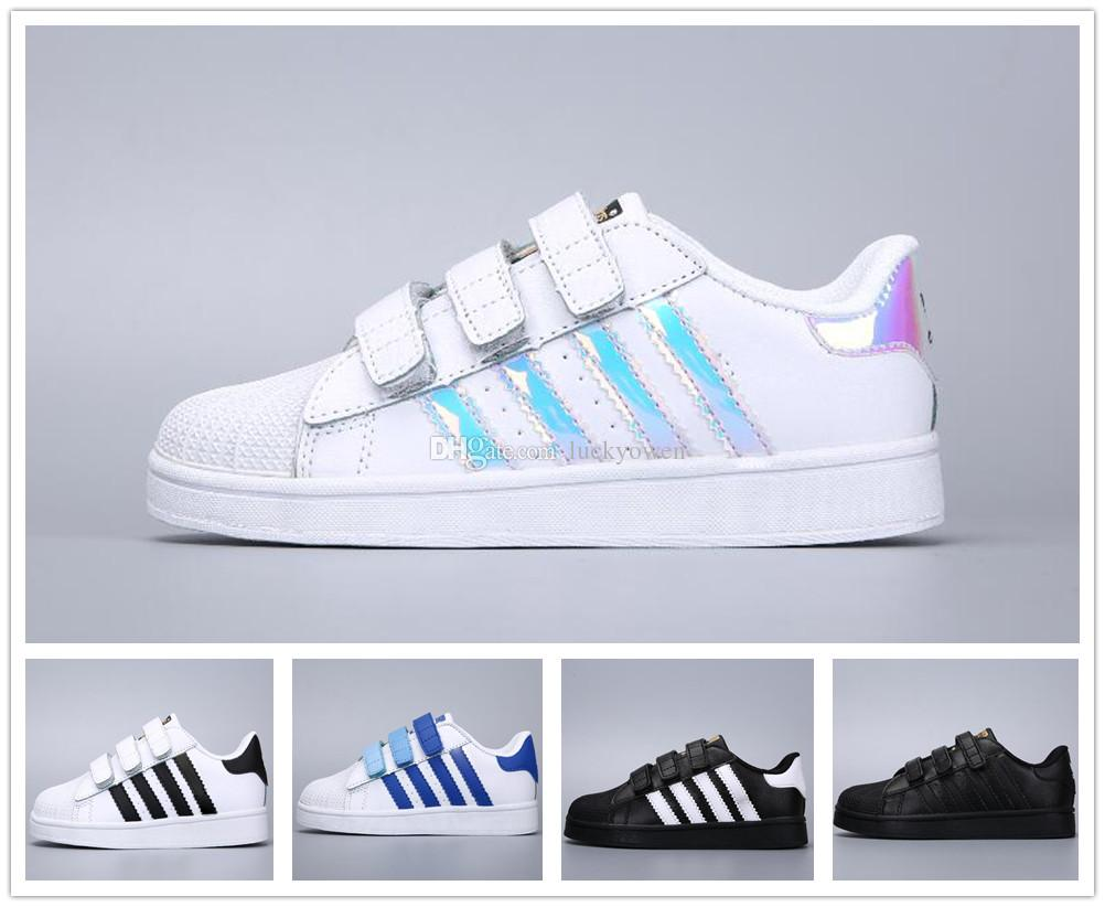 hot sale online a4afe f366c Compre Adidas Superstar Super Star 2019 Kids Super Star Holograma Blanco  Iridiscente Junior Superstars 80s Pride Niño Niños Chicas Entrenadores  Superstar ...