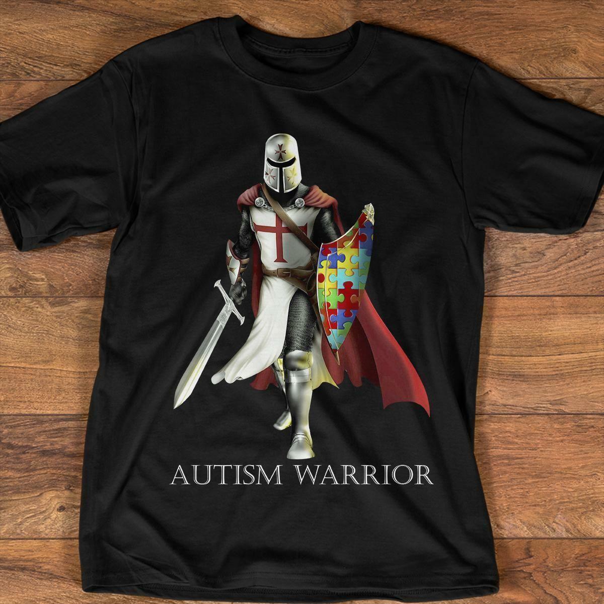 6ad853359 Autism Knights Templar Autism Warrior T Shirt Black Cotton Men S 6XL US  Supplier Men Women Unisex Fashion Tshirt Neck T Shirts T Shirts Only From  ...