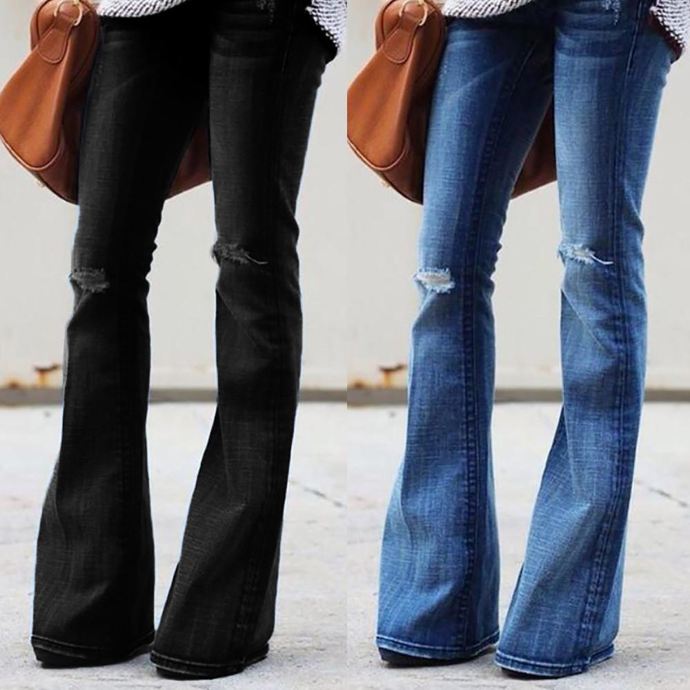 614c1615ea Compre 2019 Caliente Negro Azul Moda Mujer Jeans Denim Hole Mujer Cintura  Media Elástica Slim Flare Jeans Pantalones Cargo Agujero Denim Casual A   27.41 Del ...