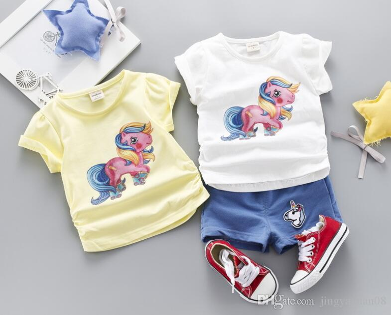 New Summer Children's Clothes 2019 Two-piece Suit for 0-4 Years Old Boys and Babies Cartoon Colourful Pony Short-sleeved Shorts