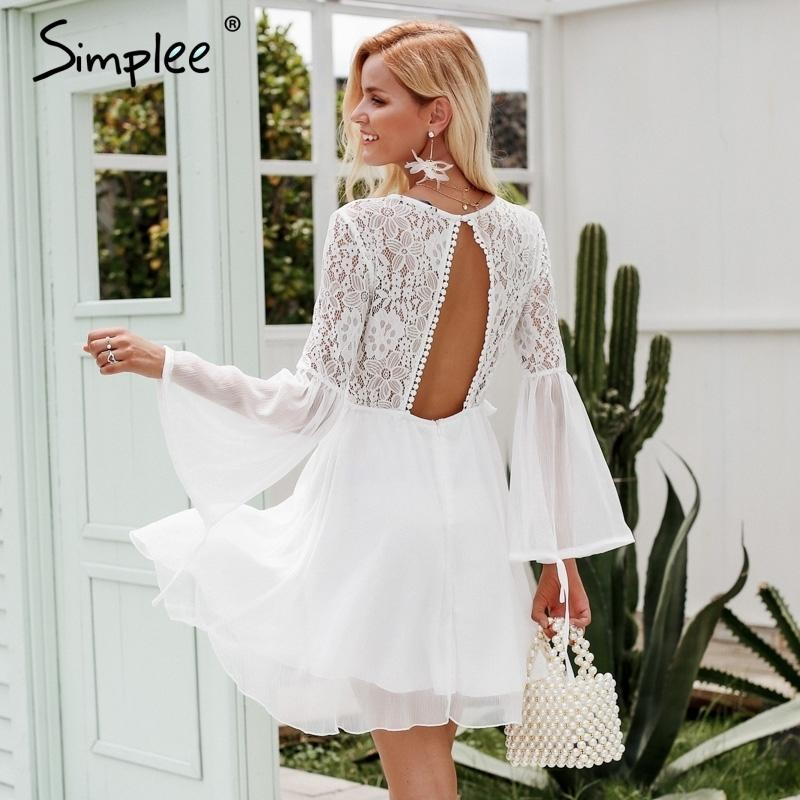 81dfe2be8464 2019 Simplee Embroidery Flare Sleeve Hollow Out Women Dress Vintage Lace  Backless Sexy Dress Elegant Ruffle Autumn Winter White Dress Y19012102 From  ...