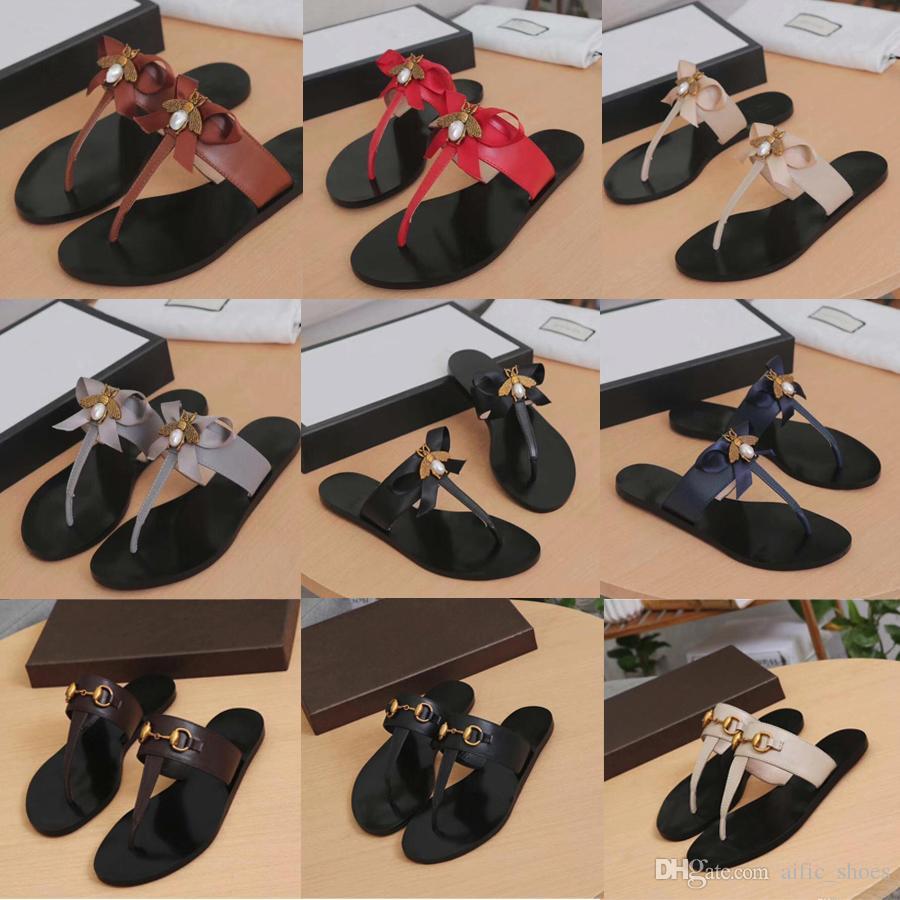 b4110d235359 Luxury Designer Flip Flops Slipper Women Genuine Leather Metal Chain Ladies  Sandals Shoes Bee Slipper Slides Metal Comfort Flat Casual Shoes Platform  Boots ...