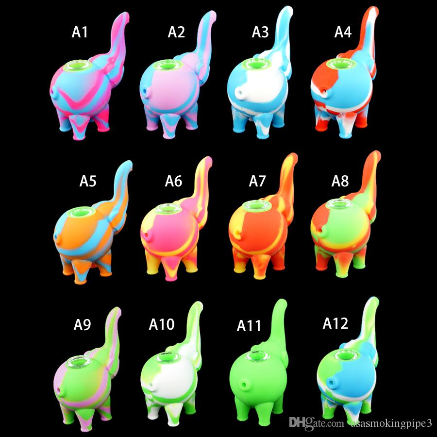 new elephant pattern mini bubbler Water Pipes multiple colors Silicone Oil  Rigs bong Glass bowl smoking water pipe Free Delivery