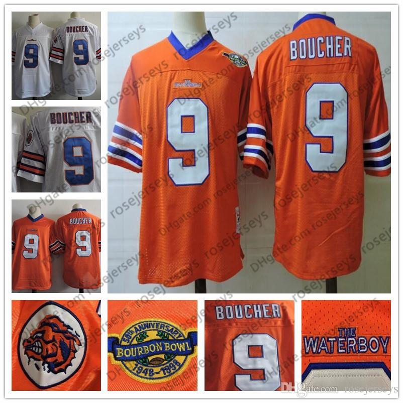 2019 Men S The Waterboy Movie  9 Bobby Boucher Orange White Jersey S 3XL  Stitched 1948 1998 Bourbon Bowl 50th The Film Football Adam Sandler From ... af75d3277