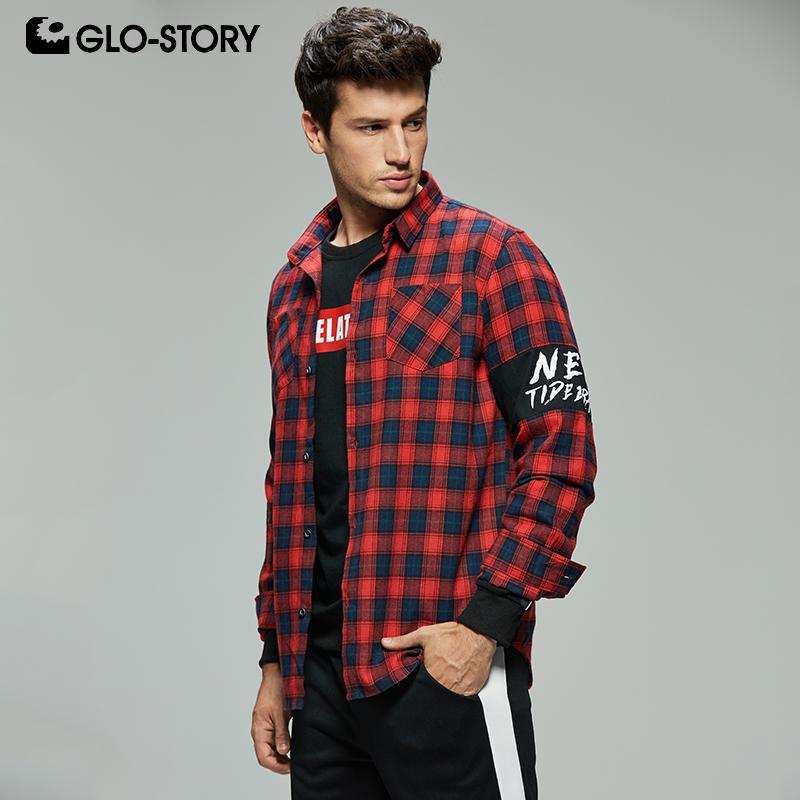 8aba70153be2 GLO-STORY Мужская повседневная уличная рубашка с длинным рукавом в клетку с  рубашкой ...