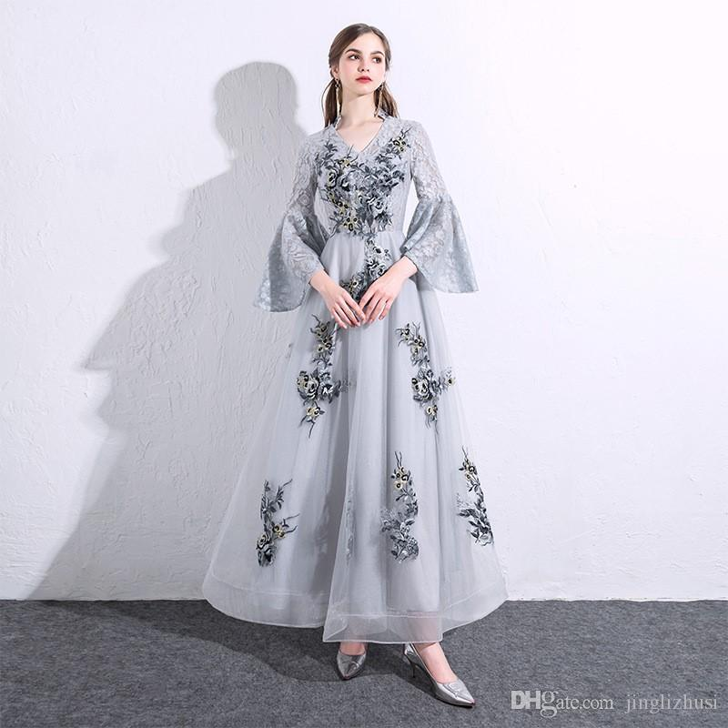 Chiffon gauze dress skirt female wedding dress banquet dress skirt Europe and the United States foreign trade high-end custom polyester fibe
