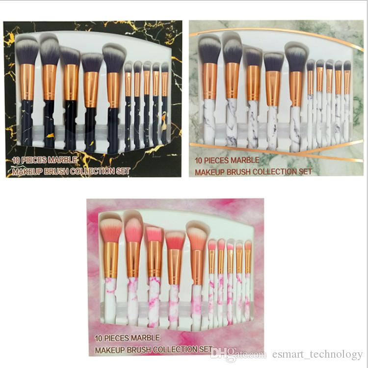 5d1c726d1f70 10 Pieces Highlighter Marble Makeup Brushes Collection Set Face Eyeshadow  Make Up Brush Kit With Retail Box Packing