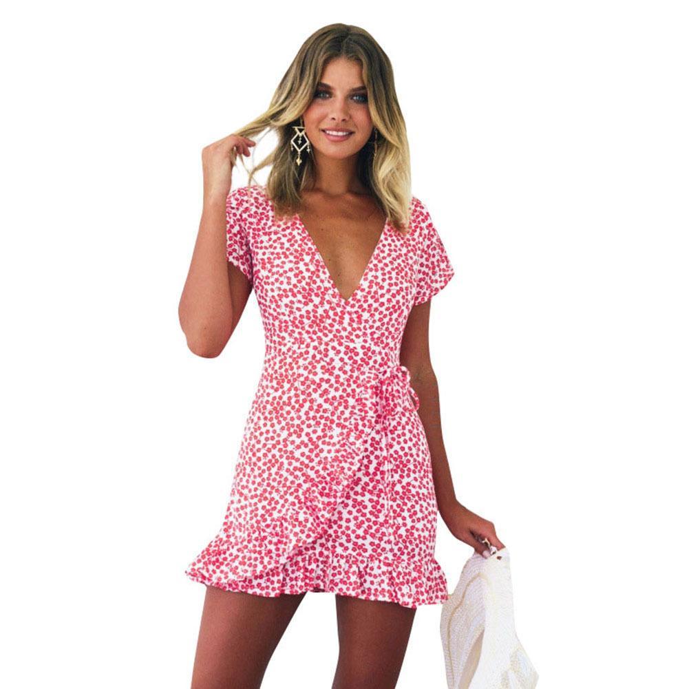 0a4264f559a2 New Women Short Sleeve Wrap Dress Retro Floral Mini Dress Deep V Neck  Ruffle Summer Beach Boho Sundress Red Robes Femme 2018 Ete Cute Dress For  Women ...