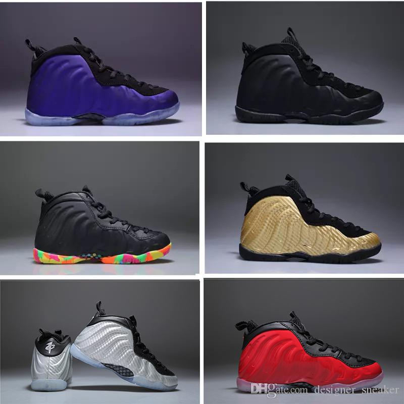 5c062b6bc62e6 2019 Eggplant Penny Hardaway Foams Kids Basketball Shoes Black FRUITY  PEBBLES Infant Children Athletic Pippen Duncan Sports Toldder Sneaker From  ...
