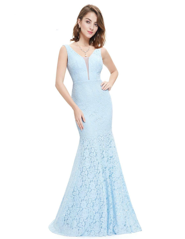 f28e9201d46 Großhandel Neue Elegante Blaue Tiefe V Ausschnitt Spitze Prom Kleider 2019  Formale Lange Meerjungfrau Appliques Satin Arabisch Abendkleider Party Kleid  Von ...