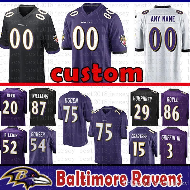 sale retailer 95c80 dff46 Baltimore Custom Ravens Jersey 52 Ray Lewis 15 Crabtree 3 Robert Griffin  III 34 Alex Collins Williams Torrey Smith Ogden Boyle Reed
