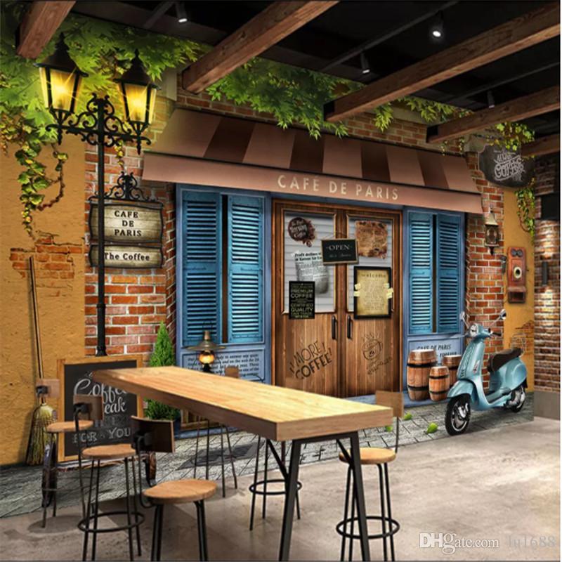 Custom Mural Wallpaper 3d Retro Vintage Paris Cafe
