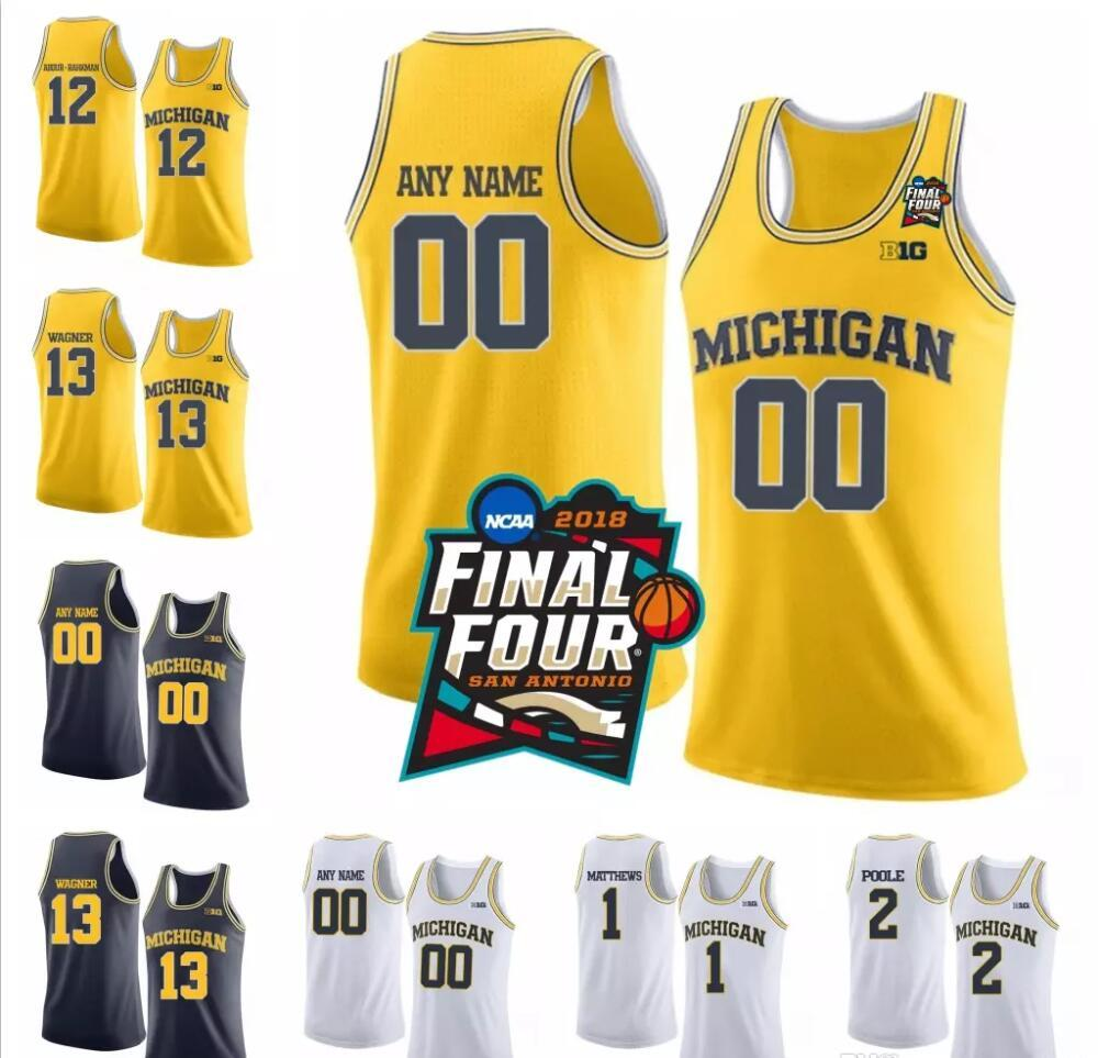 b34b9bf30 2019 NCAA Michigan Wolverines  13 Moritz Wagner 1 Charles Matthews 2 Poole  White Navy Blue Yellow Stitched College Basketball Final Four Jersey From  ...