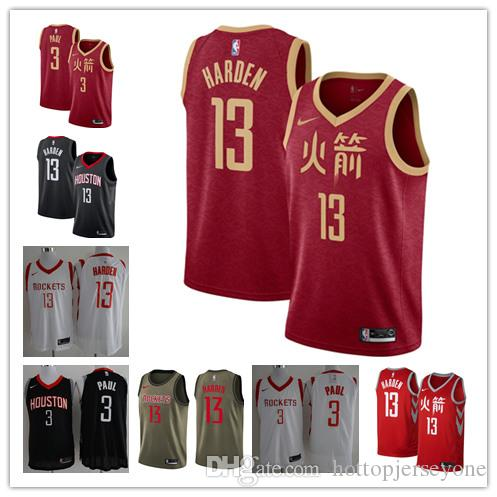 b7d2a01b4 2019 New Men S Houston James 13 Harden Rockets City Chris 3 Paul Edition  Swingman Jersey Stitched Jerseys Italian Suits For Men Male Prom Suits From  ...