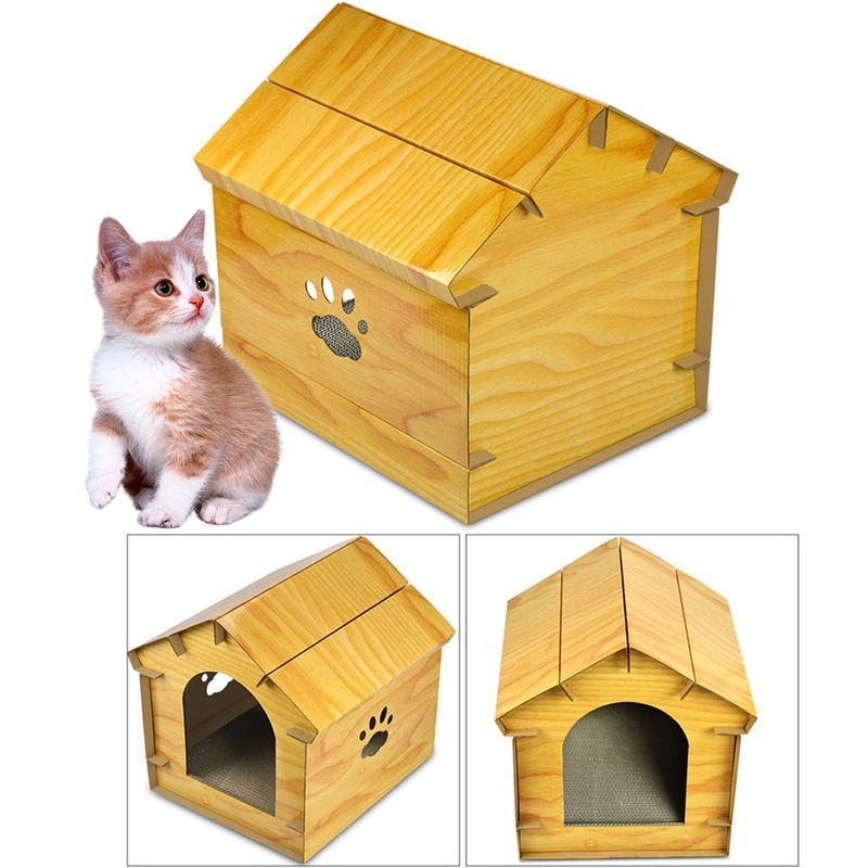 Simulated Wood Grain Cat House Corrugated Paper Cat Scratch Board Shelter Pet Supplies