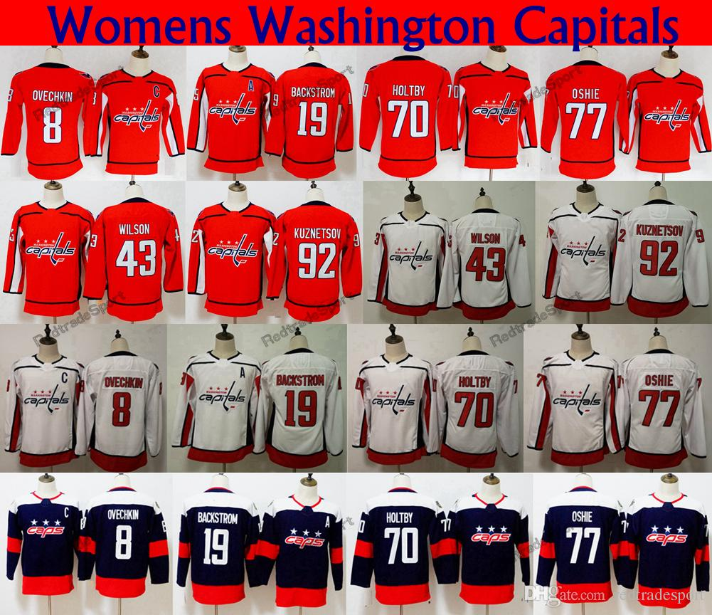 2019 Ladies 2018 Stadium Series Washington Capitals 77 TJ Oshie 8 Alex  Ovechkin 70 Holtby 92 Kuznetsov 19 Backstrom 43 Tom Wilson Hockey Jerseys  From ... 79b097b32965b