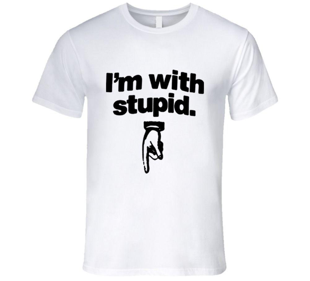 0ece3528 mens designer t shirts shirt I'm With Stupid, Hand Pointing Down T Shirt