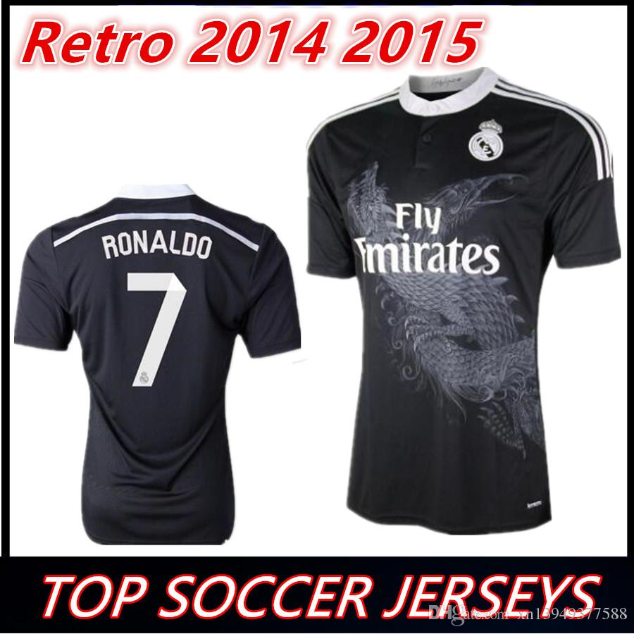 the best attitude 6327d 75a7b Retro Real Madrid 2014 2015 Home black Soccer Jersey RONALDO KROOS BENZEMA  Camisetas 14/15 RAMOS ASENSIO Vintage Football Shirt Maillot