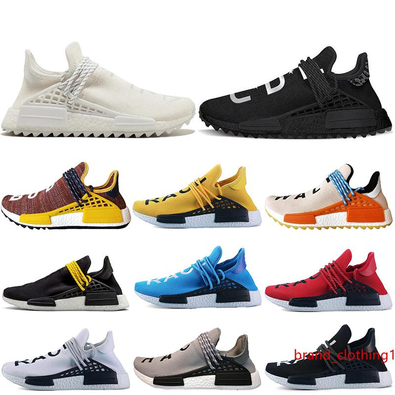2019 Human RACE Pharrell Williams Trail Mens Sports Running Shoes Black white Red Women Sneakers Trainers shoes