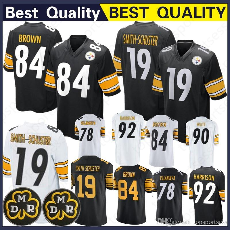 reputable site 9870a d4a37 Pittsburgh Steeler 84 Antonio Brown Jersey 90 T.J. Watt 30 James Conner 92  James Harrison 19 Juju Smith-Schuster Football Jerseys