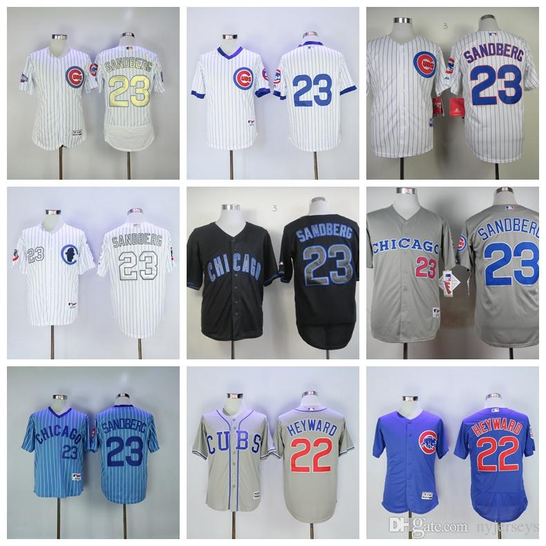 best service 73e79 ff588 Chicago 23 Ryne Sandberg Jersey Cubs David Ross White Blue Grey Gray 22  Road Gold Program Baseball Jerseys