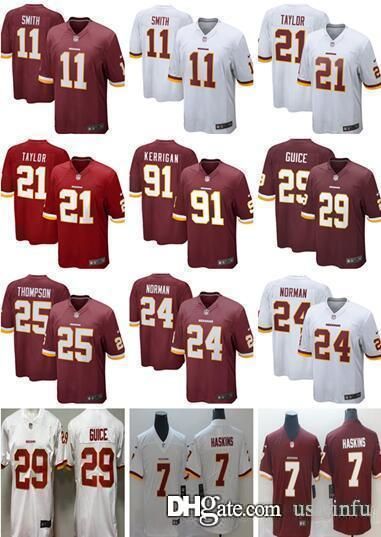 cheap for discount 79463 9c400 Men 7 Dwayne Haskins 11 Alex Smith Washington Redskins Jersey 29 Derrius  Guice 21 Sean Taylor 86 Reed 91 Ryan Kerrigan women yout youth kids