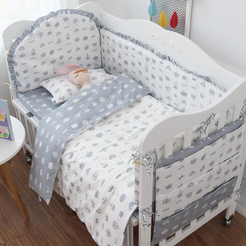 Infant Baby Crib Bedding Set For Girl Baby Boy Bedding Set Soft Cotton  Newborn Nursery Cot Bedding Bumper Sheet 120*60 Brown Duvet Cover Bedding  Comforters ...
