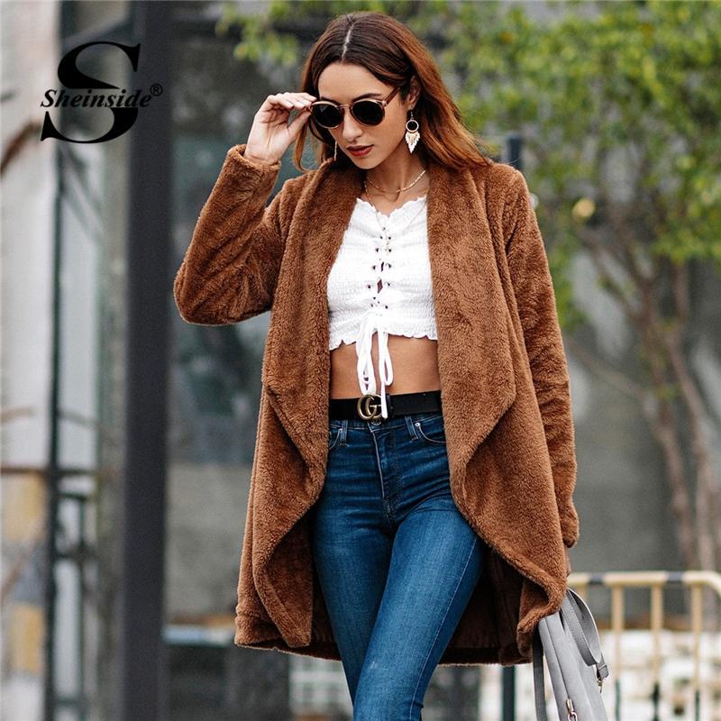 Piel De Sheinside Compre Abrigo Mujer Peluche Elegante Sintética twXgFq6z