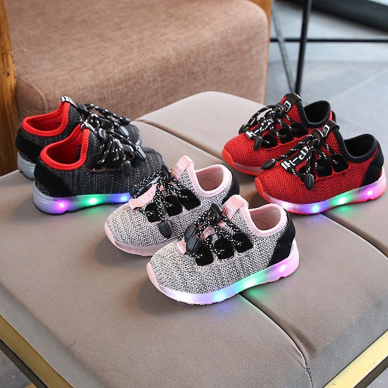 promo code a16a4 51644 Neue Kinder Mädchen Kinder Sportschuhe Led Lumineszenz Schuh Männlichen  Mädchen Lässig Bunten Blitz Von Licht Turnschuhe Kind rutschfeste Schuh