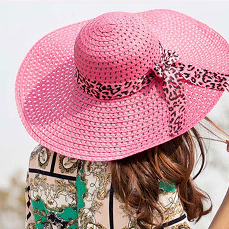 de8e1dcd804 Monochrome Bow Knit Hats Ms. Hollow Beach Sunshade Wide-brimmed Hat ...