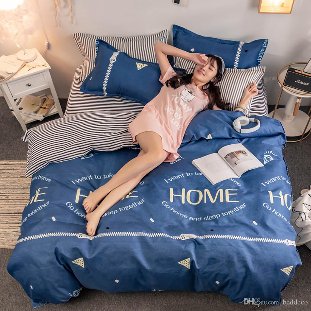 King Size Bedding Set Creative Pattern Simple Fresh Navy Duvet Cover Queen Blue Single Full Twin Soft Bed Cover with Pillowcase