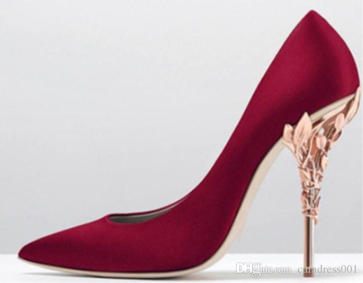 Women Solid Eden Heel Pump Super Burgundy Stain Women Wedding Shoes Ornate Filigree Leaf Pointed toe Haute Couture SHOES In Stock
