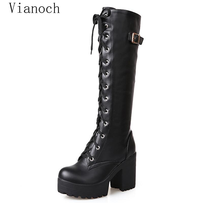 d36c080dd 2019 New Fashion Women Boots Knee Length Winter Fur High Heels ...