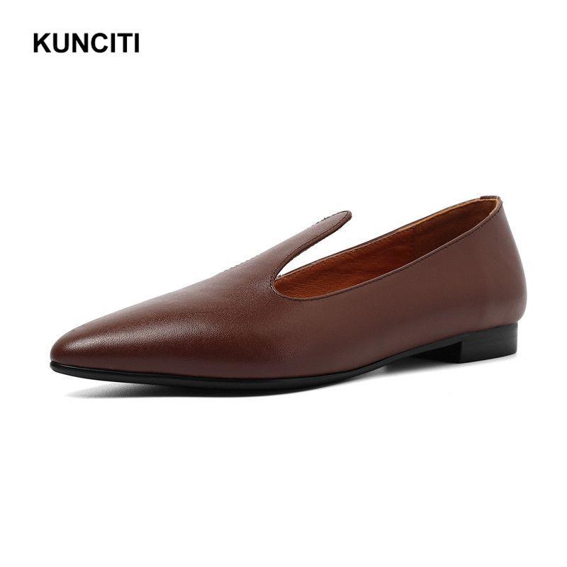la meilleure attitude 090cd 835d9 Acheter 2019 KUNCITI Chaussures Femme Slip On Cuir Véritable ...
