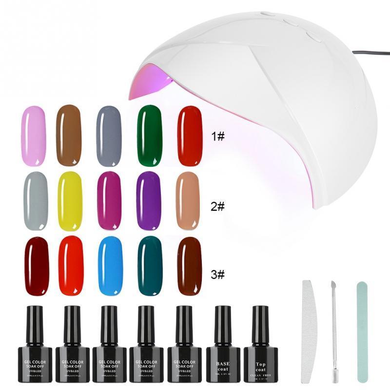 UV LED Gel Nail Art Set 36W UV Gel Dryer Light Top And Base Manicure ...