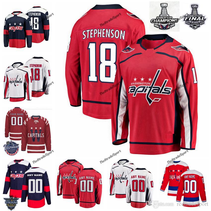 53e9fcad84f 2019 2018 Stanley Cup Final Washington Capitals Chandler Stephenson Hockey  Jerseys 18 Chandler Stephenson Stitched Jersey Custom Name Number From ...